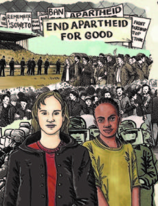 Illustration of two girls, one black, one white in front of a protest. Signs in the backgound say end apartheid for good.