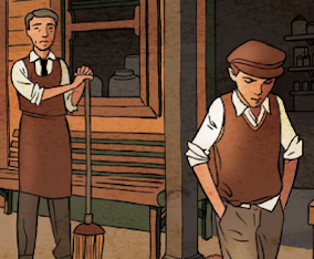 Illustration of a boy looking down as he wals away from a male storekeeper holidng a broom and wearing a brown apron.
